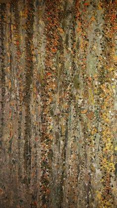 Glistening Woods by David Schaefer Oil, enamel, acrylic, nail embellishment 36 x 36 on birch board-2015