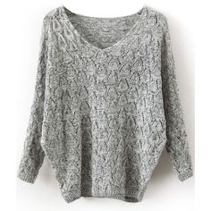 Grey V Neck Long Sleeve Hollow Sweater ($15) ❤ liked on Polyvore featuring tops, sweaters, grey, long sleeve pullover sweater, acrylic sweater, poncho sweater, loose sweaters and grey v neck sweater