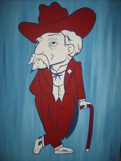 """Colonel Reb / Ole Miss / University of Mississippi / Handpainted Canvas / 24"""" x 30"""""""