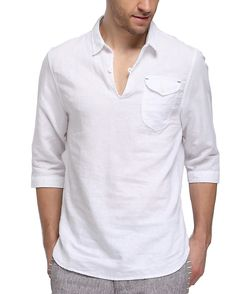55%Linen 45%Cotton Middle sleeve shirt for men Casual beach shirt for men Beach…