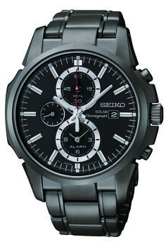 Seiko Solar Watch, Solar Alarm Chronograph, with black ion finish and silver accents, SSC095  www.SeikoUSA.com