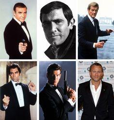 Los distintos intérpretes de James Bond (desde arriba a la izq.): Sean Connery, George Lazenby, Roger Moore, Timothy Dalton, Pierce Brosnan y Daniel Craig. Crédito: dpa