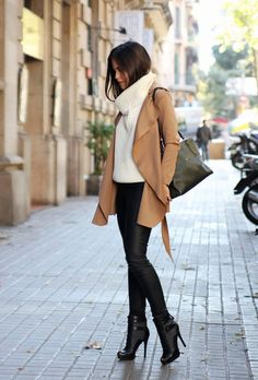 Holiday outfit leather leggings   beige coat