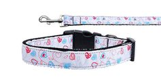 Nylon Dog Collar or Leash Patriotic Crazy Hearts by DirtRoadDog