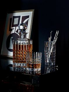 Whiskey decanter - crystal barware with plaid design and sterling silver straws/mixers #whiskey #whisky