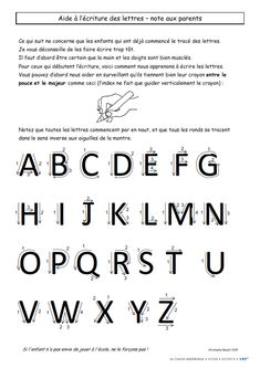 Une petite note à destination des parents pour revenir sur les principales règles d'écriture.