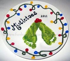 Handprint and Footprint Arts & Crafts: Footprint Mistletoes- DIY Decorative Keepsake Plate by roxanne