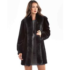 FRR Nola Reversible Sheared Mink Fur Coat with Fox Trim in Black ($3,000) ❤ liked on Polyvore featuring outerwear, coats, reversible coat, double faced coat, mink fur coat, fox coat and reversible mink coat