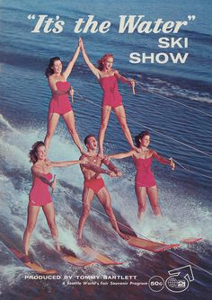 This is the official program from the Tommy Bartlett produced water ski show that took place during the 1962 Seattle World's Fair. It was held in Memorial Stadium.