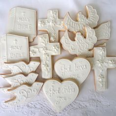 These white on white cookies are a sweet gift for Confirmation -- and they can be the centerpiece as well as the dessert at the party after church!