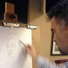 """Instructor Rob Zeller doing a drawing demonstration for his Portrait and Figure students. This semester @RobZellerArt is teaching three """"#Figure #Drawing and #Painting"""" classes on Wednesdays September 14 - December 12th. Zeller teaches a system of figure drawing and painting that emphasizes form structure and #anatomy. #atelier #teachingstudios #instaart #art #contemporaryart #realism #longisland #oysterbay #fromlife #portrait #portraiture #artmodel #figure #figureativeart #artistmodel…"""