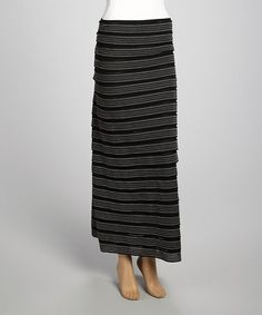 Take a look at this Black & Gray Stripe Skirt by Zashi on #zulily today!