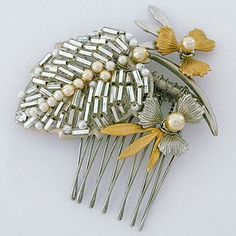 Paris bridal hair accessories by Debra Moreland.  Moon Moths vintage bridal hair comb, a small vintage piece seen on the TV series Reign. Vintage. Bohemian Glam.