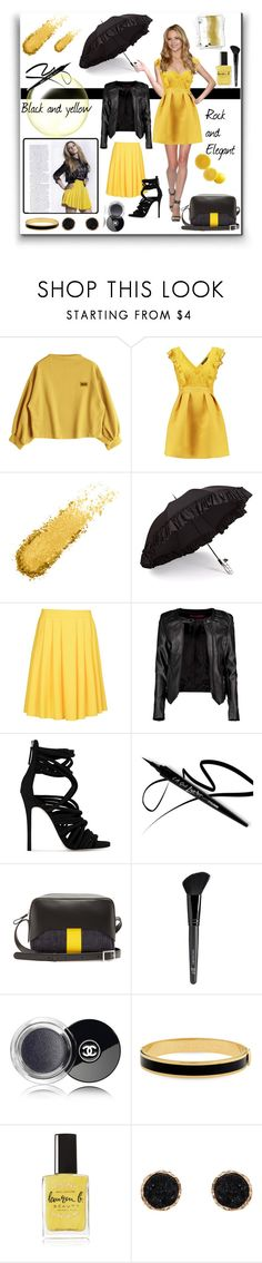 """""""black yellow"""" by giada2017 ❤ liked on Polyvore featuring Gizelle Renee, 8, Boohoo, Giuseppe Zanotti, TIBI, Old Navy, Halcyon Days, Lauren B. Beauty and Humble Chic"""