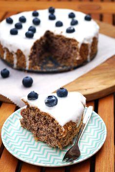glutenvrije bosbessen-limoen taart met suikervrij glazuur
