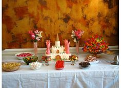 Princess party, complete with castle cake and finger foods (candy and fruit!)