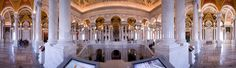 Interior panorama of the Thomas Jefferson Building, Library of Congress, Washington, DC Architects: Paul J. Pelz, John L. Smithmeyer & Edward Pearce Casey.  © 2012 Fred Sickler ---All Rights Reserved---