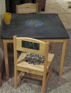 Stenciled Kids Table Chalkboard - what to do when your toddler gets a hold of a sharpie and draws on the table :) Royal Design Studio Stencil