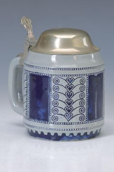 Art Nouveau stein, Albin Müller, Wick Werke, around 1900, earthenware, abstract decor with stylized hearts, partially blue glazed, tin cover