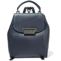 ZAC Zac Posen Eartha metallic leather backpack ($285) ❤ liked on Polyvore featuring bags, backpacks, blue, blue bag, blue backpack, blue leather backpack, genuine leather backpack and leather rucksack