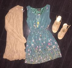 Hunter Green Flower Dress