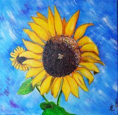 Peinture sur toile : L'abeille posée sur un tournesol : Peintures par marie-lumiere
