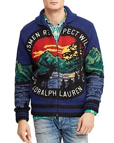 a95de957f19 Polo Ralph Lauren Men s Great Outdoors Intarsia Full-Zip Cardigan - Scenic S