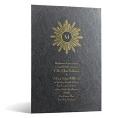 This glamorous art deco #wedding #invitation displays a timeless, vintage feel. A shining sun, featuring your last name initial, bursts forth from a striking black onyx shimmer background. Invitations by David's Bridal Deco Sunburst in Foil Print - Onyx Shimmer.