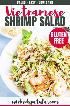 Vietnamese Shrimp Salad Recipe (Goi Tom) - This vibrant and fresh Vietnamese shrimp recipe is packed with crunchy vegetables and tons of fresh herbs. Vietnamese shrimp salad (called Goi Tom) is delicious & EASY! Easy Paleo Dinner Recipes, Paleo Salad Recipes, Shrimp Salad Recipes, Easy Whole 30 Recipes, Lunch Recipes, Seafood Recipes, Breakfast Recipes, Paleo Meals, Whole30 Recipes