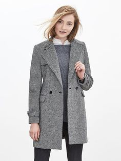 Mixed-Tweed Double-Breasted Coat