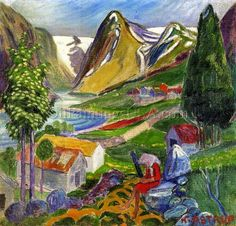 Nicolai Astrup Kari paa Sunde hand painted oil painting reproduction on canvas by artist Artists Like, Famous Artists, Work Inspiration, Painting Inspiration, A4 Poster, Poster Prints, Romanticism Paintings, Oil Paintings, Virtual Museum