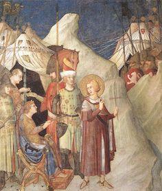 SIMONE MARTINI (1285 -1344) -  Saint Martin Renounces His Weapons -1312/17. Fresco, 265 x 230 cm. Cappella di San Martino, Lower Church, San Francesco, Assisi.