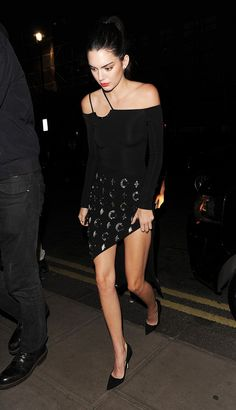 On Kendall Jenner: David Koma bodysuit and skirt.
