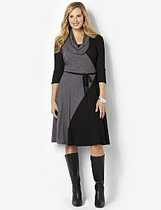 Catherines by Lane Bryant Colorblock Knit Dress Removable Scarf Scarf Dress, Knit Dress, Dress Skirt, Dress Up, Plus Size Dresses, Dresses For Work, Work Outfits, Professional Outfits, Business Professional
