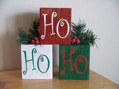 Christmas Blocks, Christmas Wood Crafts, Christmas Signs, Diy Christmas Gifts, Christmas Projects, Christmas Art, Holiday Crafts, Christmas Decorations, Christmas Ornaments