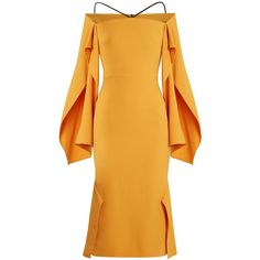 Roland Mouret Andover off-the-shoulder crepe midi dress ($2,885) ❤ liked on Polyvore featuring dresses, vestidos, orange, orange dresses, off-the-shoulder dress, midi dresses, orange off the shoulder dress and yellow ruffle dress