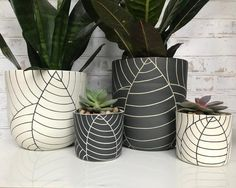 MADE TO ORDER - full black leaf carved planter - large planter - ceramic planter - succulent planter - pottery planter - modern Painted Flower Pots, Painted Pots, Large Ceramic Planters, White Planters, Succulent Planters, Black Leaves, Modern Ceramics, White Clay, Clay Pots