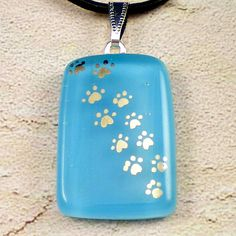 My Pet Walks All Over Me  Light Blue fused glass by GoldenGlow