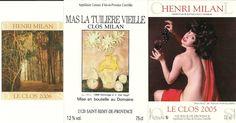 Etiquetas vinos CLOS MILAN. Francia. ver más en etiquetasvinoarte.blogspot.com
