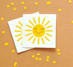 Happy Sun Mini Gift Cards Small Note Cards by ColourscapeStudios