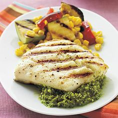 Halibut with Quick Lemon Pesto - 5-Ingredient Summer Recipes - Cooking Light