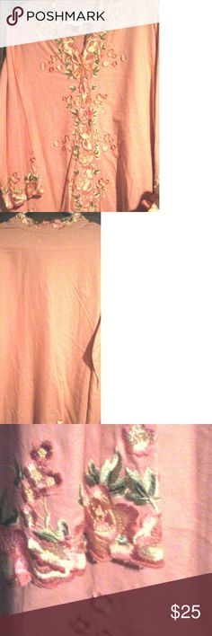 Susan Graver style light orange floral buttonup Floral outlines buttonup front area, neckline, and bottom of this shirt that has 3/4 inch sleeves. NWOT Susan Graver Tops Button Down Shirts