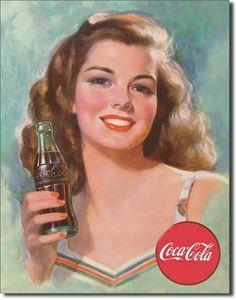 Vintage Tin Metal Sign Coco Cola Coke Bottle Antique Soda Brunette Girl 1227   eBay