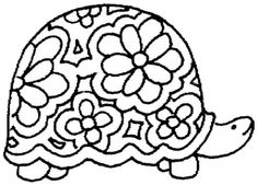 Free Printable Black Art | Nice Ornament Of Turtle coloring page | Super Coloring