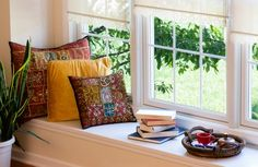 Where's your favorite reading nook - is by a window seat in your home? Feng Shui Tips, Living Spaces, Living Room, Cozy Nook, Reading Nook, Coffee Reading, Home Improvement Projects, Home Decor Items, Windows And Doors