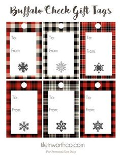 These Buffalo Check Free Printable Gift Tags will have all your Christmas gifts looking gorgeous. No need to buy, just print, snip & give - it's easy! Christmas Gift Tags Printable, Free Printable Gift Tags, Holiday Gift Tags, Free Christmas Printables, Free Printables, Inexpensive Christmas Gifts, Best Christmas Gifts, Xmas Gifts, Christmas Crafts