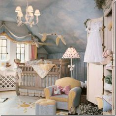 I love this boy nursery... Mostly the yellows and blues and the amazing sky ceiling!
