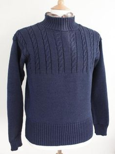 Based on our traditional hand knitted Yorkshire coast Gansey sweaters. Using the same wool from British breeds sheep Mens Knit Sweater Pattern, Mens Knitted Cardigan, Baby Cardigan Knitting Pattern Free, Knit Jacket, Hand Knitting, Men Sweater, Bodybuilding Clothing, Boys Sweaters, Knit Sweaters
