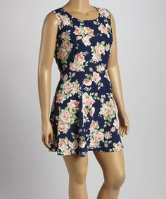 This Perch by Blu Pepper Navy Floral Zip-Up Sleeveless Dress - Plus by Perch by Blu Pepper is perfect! #zulilyfinds