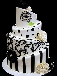 Cake Boss Concepts in South Africa Black White Cakes, Black And White Wedding Cake, White Wedding Cakes, Cake Wedding, Gorgeous Cakes, Pretty Cakes, Amazing Cakes, Unique Cakes, Creative Cakes